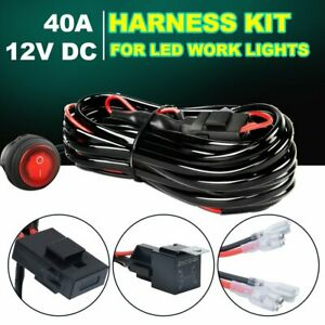 One To Two Wiring Harness Led Light Bar 40amp Relay Fuse On Off Switch Fog Pods