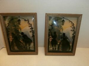 Rare Antique Reverse Painting Of Couple In Love Unsigned Wood Frame