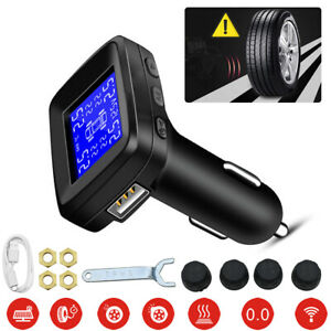 Lcd Car Wireless Tpms Tire Tyre Pressure Monitor System 4 External Sensors Fast
