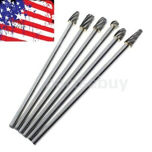 6pcs 1 4 in Tungsten Carbide Burr Rotary Drill Bits Tools Cutter Files Set Shank
