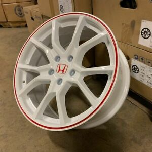 18 2018 Fk8 Civic Type R Style Wheels Rims White Red Fits Honda Civic Ex Si Lx