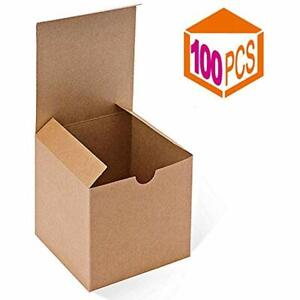 Kraft Brown Boxes 100 Pack 4 Inches Paper Gift With Lids Gifts Mugs Cupcake