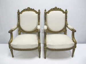 Antique Pair Of French Louis Xvi Style Gilt Armchairs D10395