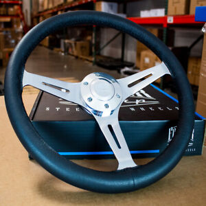 380mm Chrome Steering Wheel Real Wood Wrapped In Leather Grip 15 6 Hole