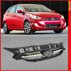 For Hyundai Accent 12 17 Hatchback Front Upper Grille Chrome Black Replacement