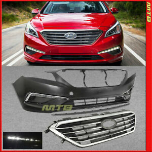 Replacement Bumper Cover W Fog Lights Upper Lower Grille For 15 17 Sonata