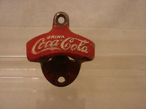 COCA-COLA STARR WALL MOUNT CAST METAL BOTTLE OPENER PAINTED RED