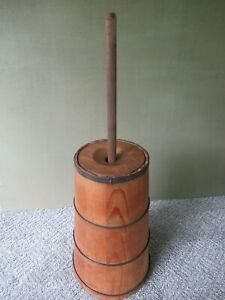 Antique Butter Churn Cedar Wood Vintage Primitive Country Dasher Lid 31 Tall