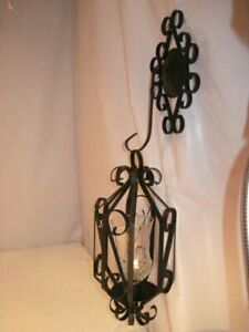 Vintage Black Wrought Iron Indoor Outdoor Candle Light Wall Hung