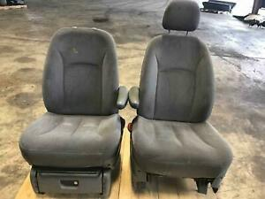 2005 2006 2007 Dodge Caravan Gray Cloth Air Bag Electric Front Bucket Seats Oem