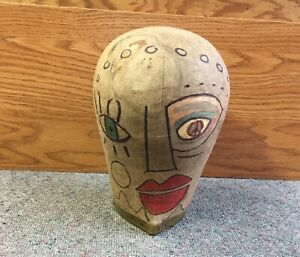 Wooden Cloth Covered Hat Mold Form Display Head W Face Style Block Millinery