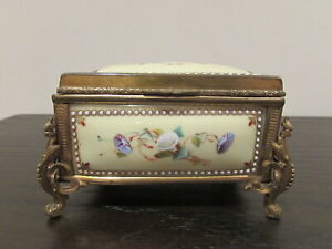 French Gilt Bronze Mounted Enamel Jewelry Box