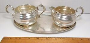 Vintage Gorham 3pc Sterling Silver Open Sugar Bowl 909 Creamer 910 Tray 124 Set
