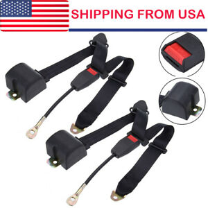 2set Universal 3 Point Retractable Auto Car Seat Belt Lap Shoulder Adjustable Us