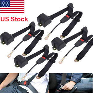 4pack Universal 3point Retractable Auto Car Seat Belt Lap Shoulder Adjustable Us