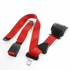 1 Set 3 Point Fixed Harness Red Safety Adjustable Seat Belt Clip Universal