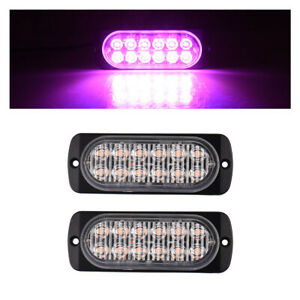 2pcs 12 Led Purple Visor Dash Emergency Light Beacon Warn Flash Strobe Light Bar