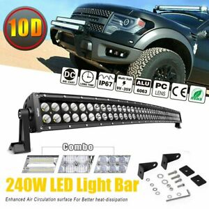 Curved 42inch 240w Dual Row Led Light Bar Spot Flood Lamp Fog 40 Driving Offroad