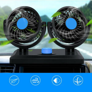 Car Truck Fan With Dual Head 360 Degree Rotation Two Speed 12v Auto Air Cooling