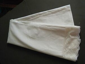 Antique Pillow Sham Case Victorian Cotton 42 X26 Bobbin Lace Primitive Rustic