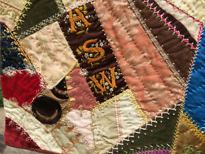 Antique Crazy Quilt 1890s Embr Birds Butterflies Flowers Maine 65 Exceptional