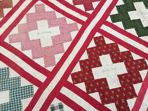 Antique Signature Quilt Guilford Ct Turkey Red 1800s Research Gem 74x88