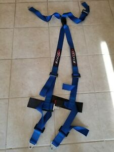 Raemco 4 Point Push Button Racing Seat Belt Harness Blue