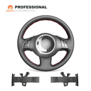 Black Real Leather Steering Wheel Cover Wrap For Fiat 500 2007 2015 500e 500c