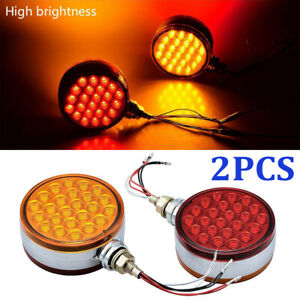 2pcs Red amber Round Led Side Marker Light Dual Face Turn Signal For Peterbilt