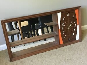 Vintage 50 S 60 S Atomic Mid Century Modern Turner Shadow Box With Clock
