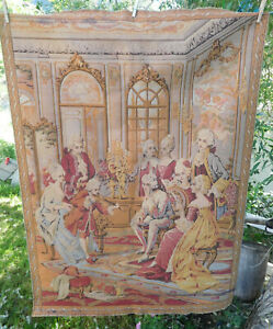 Antique Victorian Tapestry Made In Belgium Free Ship 52 X 38