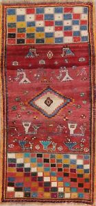 Tribal Oriental Wool Area Rug Geometric Hand Knotted 3x6 Nomad Carpet Clearance