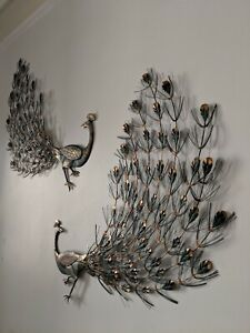 Rare Large Pair Of Mid Century Modern Peacock Wall Art Turner Co Chicago 1967