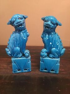 Vintage Chinese Oriental Set Of Blue Foo Dogs 6 Red Stamp