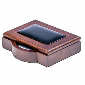 Dacasso Walnut And Leather Memo Pad Holder 4 inch By 6 inch