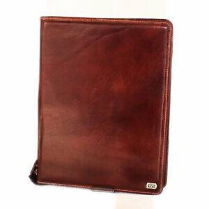Two tone Tan Color Buffalo Leather Business Pad Folio With Zipper All Around