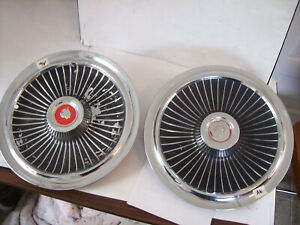 Two 1965 15 Mercury Park Lane Ford Fomoco Wheel Covers Full Disc Hubcaps