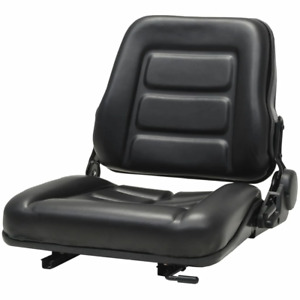 Vidaxl Forklift Tractor Seat With Backrest Pvc Black Adjustable Durable