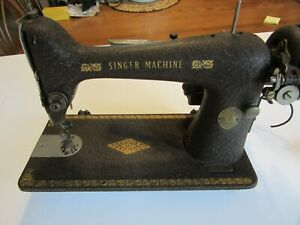 Vintage 1921 Singer Sewing Machine Black Wrinkle Finish Removed From Cabinet Gc