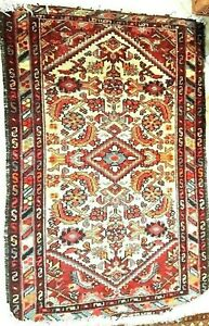 Oriental Rug Hand Knotted Wool Prayer Rug Mat 44 X 32 Old Hamadan Vintage Cool