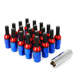 20pcs Wheel Extended Lug Bolts Nuts M14x1 5 Key Shank Cone Seat Blue For Audi