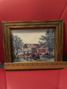 Martin's Garage Coca Cola Antique Gas Station 1990's Print. Preowned Framed.