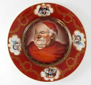 Vintage Royal Munich Portrait Plate Red Gold Vienna Style In God We Trust Pope