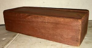 Antique Candlebox Original Red Paint Dry Finish Cut Nail Slide Lid Document Box