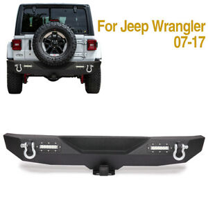 Black Rear Protector Bumper Guard bar For 2007 2017 Jeep Wrangler Jk