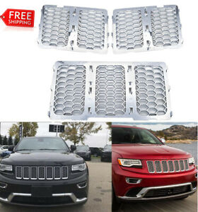 Jecar Grille Insert Kit Front Grill Cover For Jeep Grand Cherokee 2014 2016