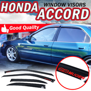 For 94 97 Honda Accord Sedan 4dr Window Visor Sun Rain Air Deflector Smoke Shade