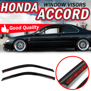 Fit 94 97 Honda Accord Coupe Slim Smoke Window Visors Rain Tape On Vent Guard