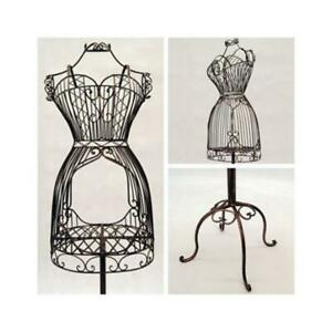 Women s Vintage Bronze Wire Metal Dress Form Mannequin With Adjustable Stand