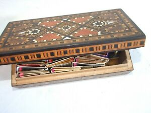 Antique Wooden Inlayed Cigar Box W Matches Collection 20 S Vintage Estate